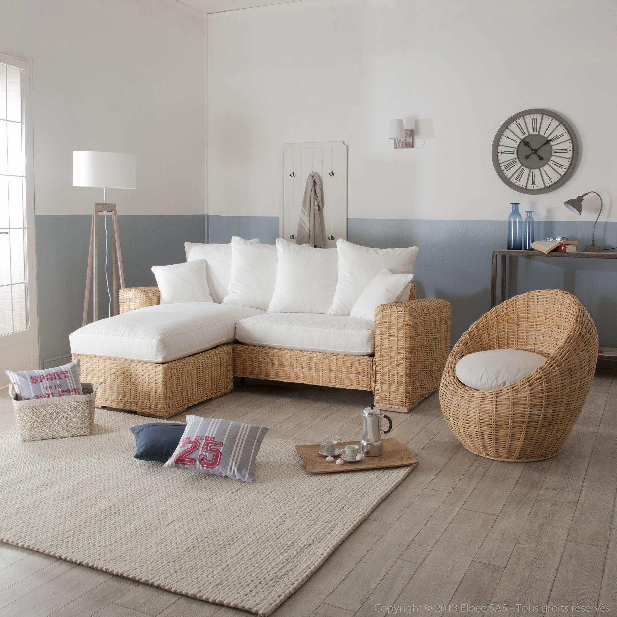 fauteuil oeuf en rotin et tissu blanc