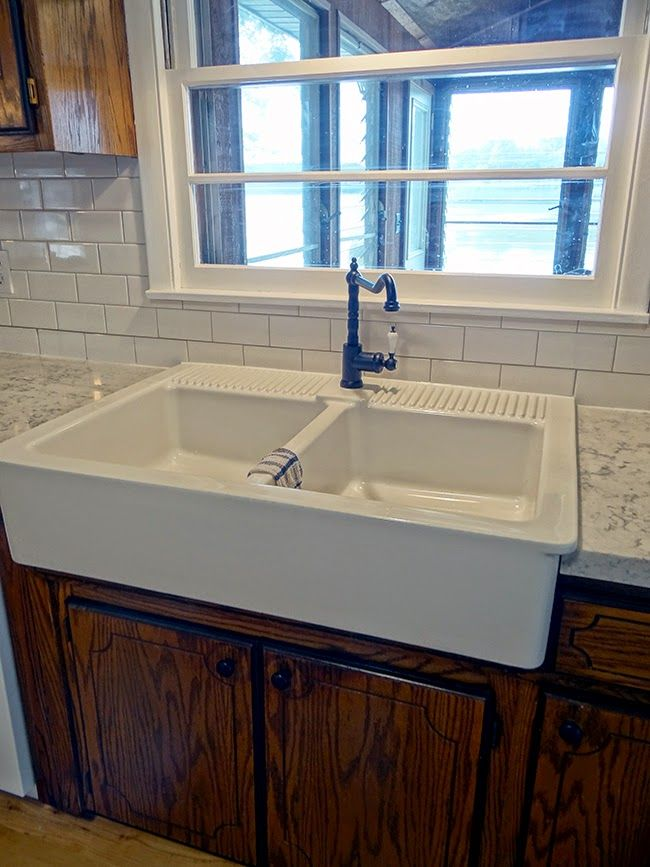 Double Farm Sink, Ikea Domsjo Sink In A Sink Base Cabinet