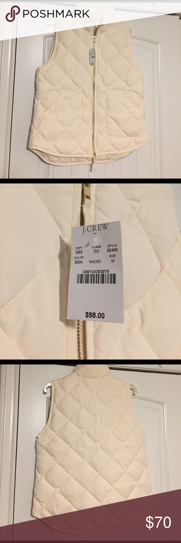 J Crew cream puffer vest medium J Crew puffer vest, medium, gold zipper, new with tags! No trades please. J Crew Jackets & Coats Puffers