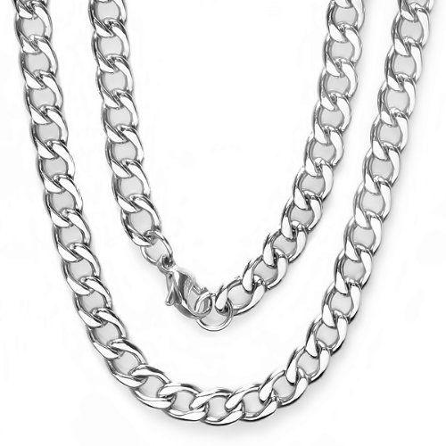 Cuban Chain Platinum: Stainless Steel Men's Platinum Plated Hip Hop Cuban Chain