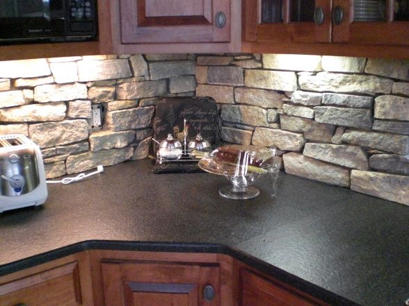 sage green kitchen with stone backsplash - Google Search
