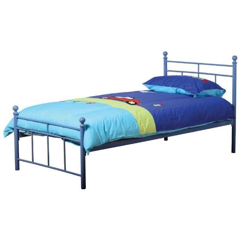 Blue Metal Bed Frame 3ft Single Bedstead Kids Boys Child Bedroom