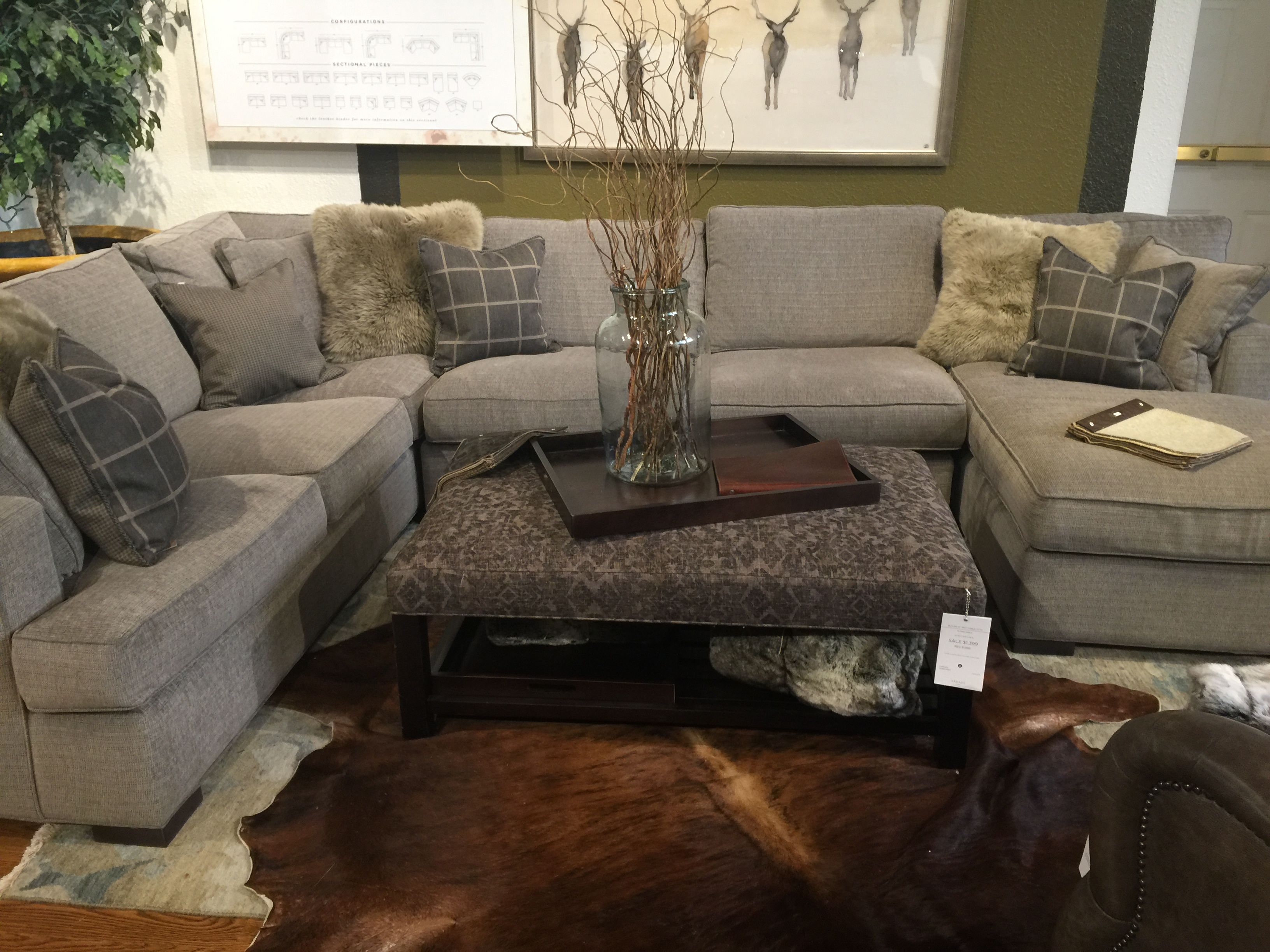 Dune sectional in stock fabric Driscoll Marble