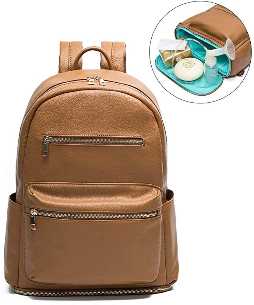 Amazon Com Diaper Bag Backpack By Mominside Leather Backpack For Women Backpack Purse Ba In 2020 Leather Diaper Bag Backpack Leather Diaper Bags Diaper Bag Backpack