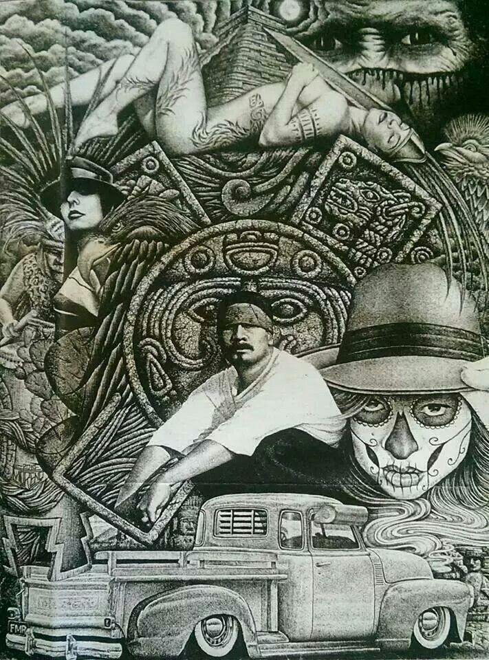 Chicano art chicano pride pinterest chicano art and for Aztec mural tattoos