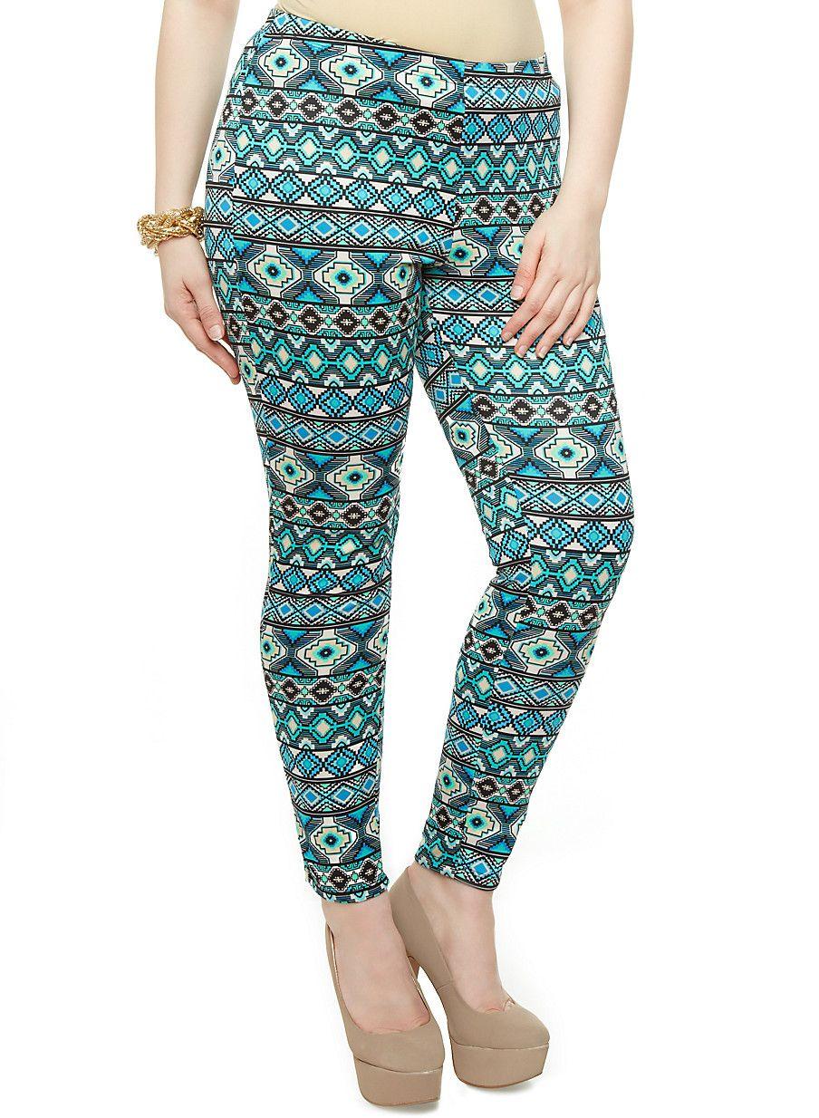 Plus Size Scuba Knit Leggings with Geo Print - Rainbow - 3969056571212