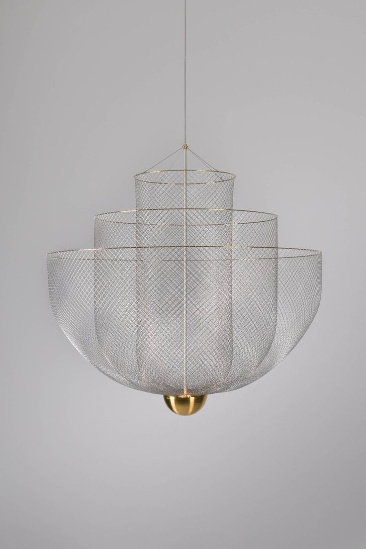 Meshmatics Dimmable Led Chandelier In Galvanized Steel And Brass