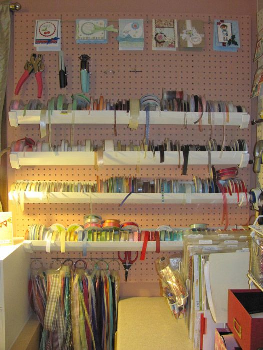 Gutters On Peg Board To Store Ribbon Love It This Is Definitely Going In The Basement Craft Room Craft Room Ribbon Storage Dream Craft Room