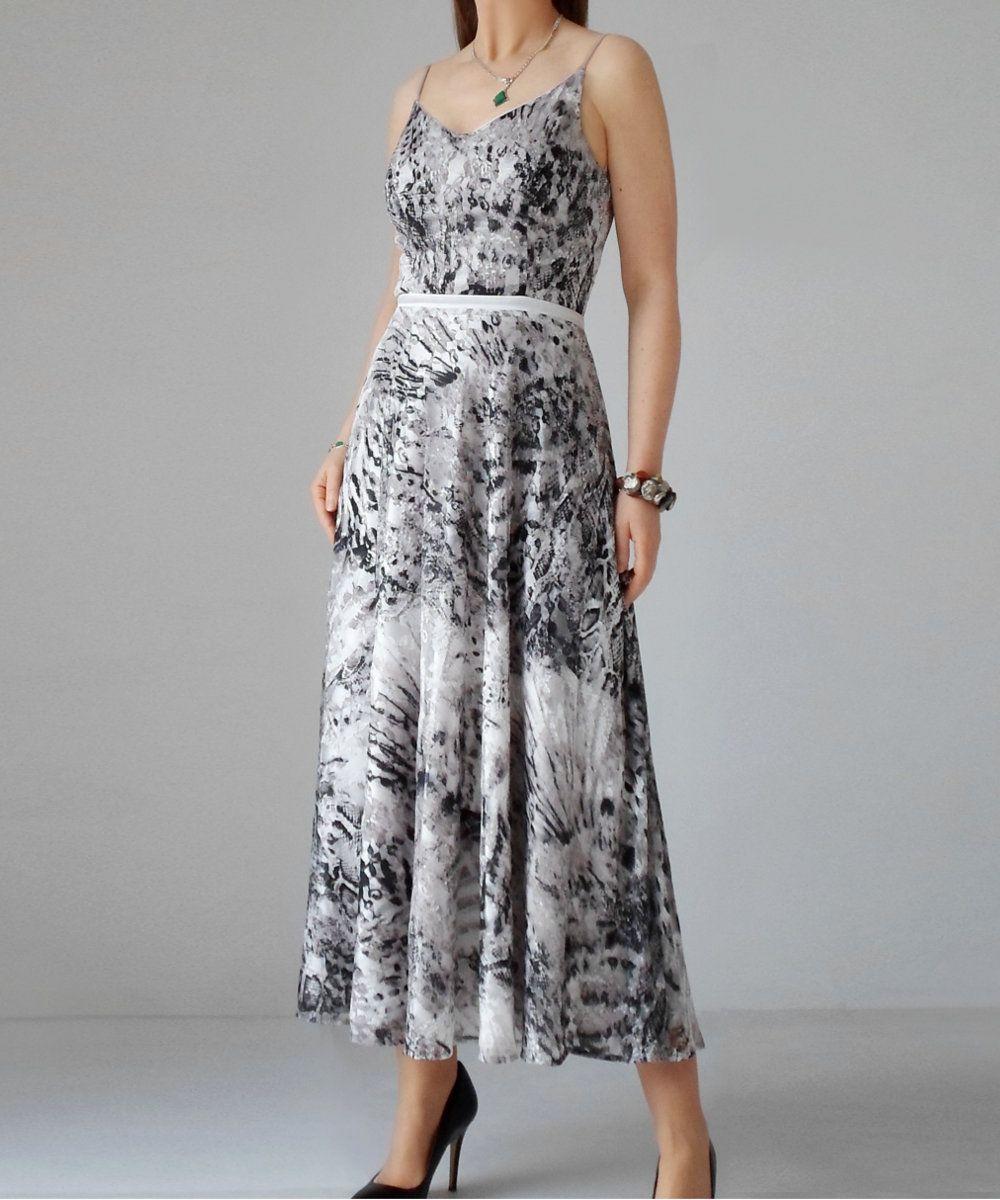 Unique dress straps for prom long dress printed black u white