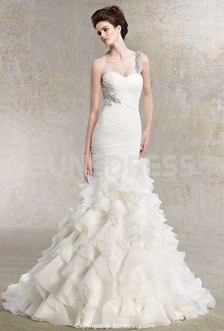 Trumpet Sweetheart One Shoulder Satin Organza #Wedding Dress With Tiered Pleats... don't really like the strap, but the fit I love