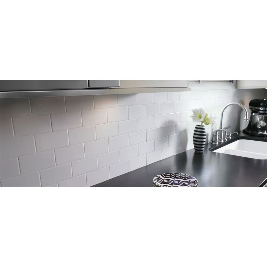 Shop american olean starting line white gloss ceramic wall tile line white gloss ceramic wall tile common x actual x at lowes canada find our selection of backsplashes wall tile at the lowest price guaranteed doublecrazyfo Images