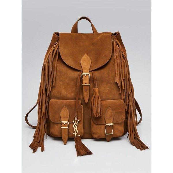 Pre-owned Yves Saint Laurent Brown Suede Fringe Festival Backpack Bag  ( 1 a24e129039074