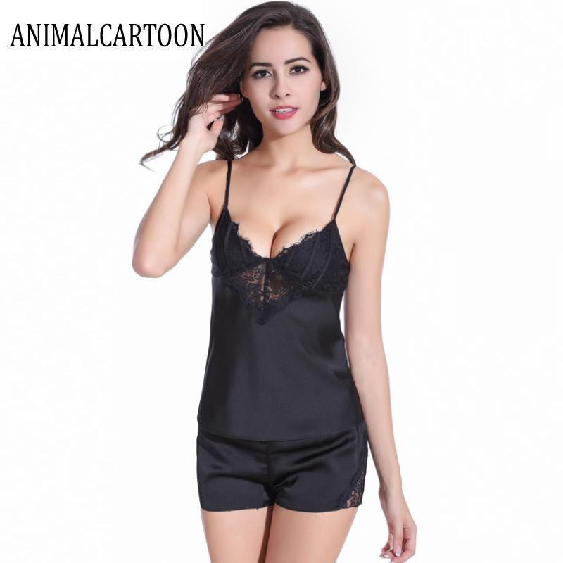 2eb5c04613 2018 Black Summer Silk Pajamas for Women Pijama Satin Sleepwear Sexy Pajama  Sets 2 Piece Set Short Pants Pyjamas with Chest. Yesterday s price  US   19.00 ...