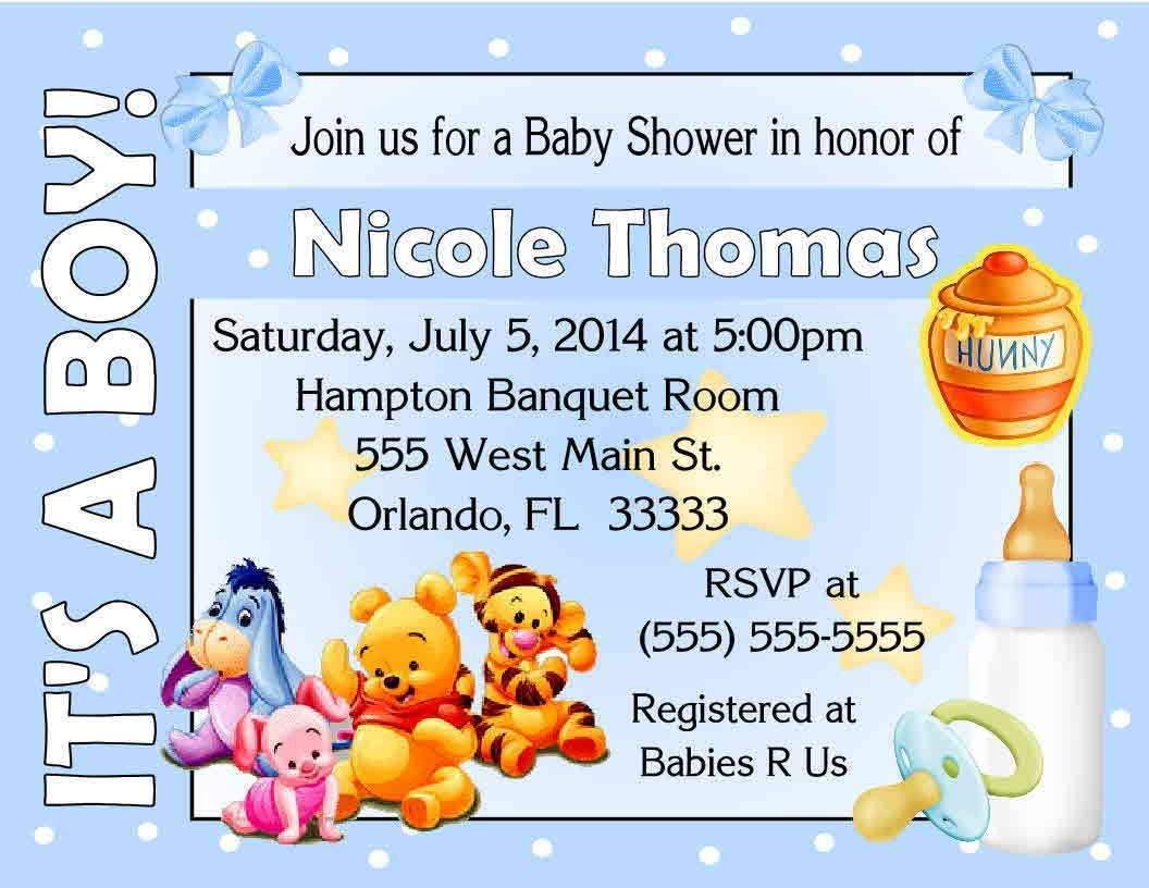 20 Winnie The Pooh Baby Shower Invitations - It\'S A Boy Design ...