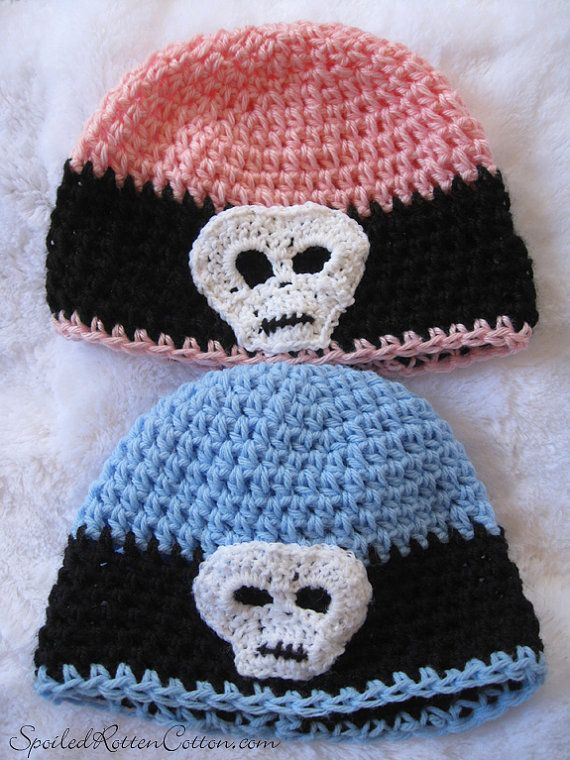 Pink Crochet Skull Beanie Hat f325e9d86d5