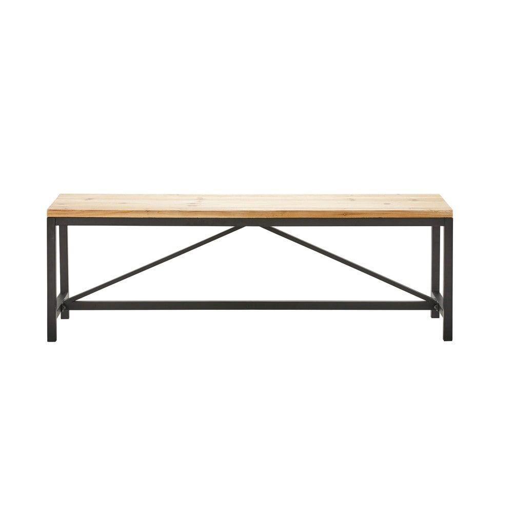 banc en m tal noir et sapin massif l140 d co chambre parentale parents bedroom pinterest. Black Bedroom Furniture Sets. Home Design Ideas