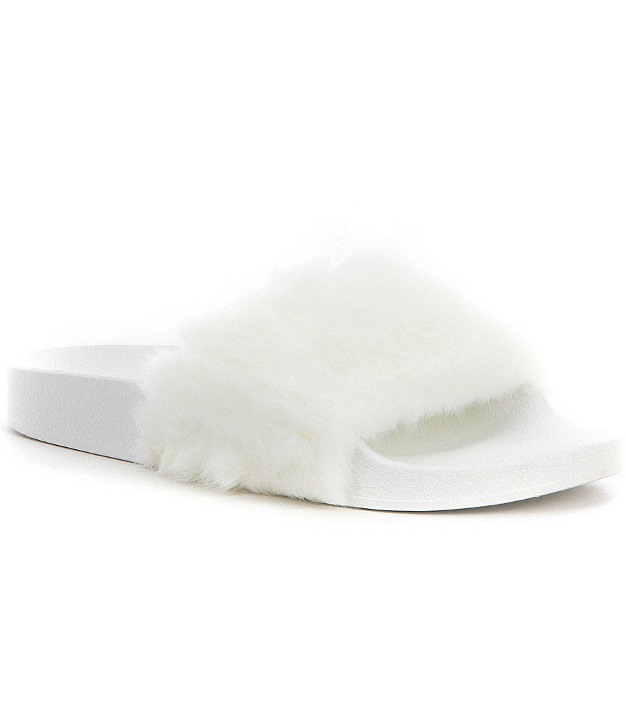 running shoes quality design detailed look White:Steve Madden Softey Faux Fur Slide Sandals | Faux fur slides ...