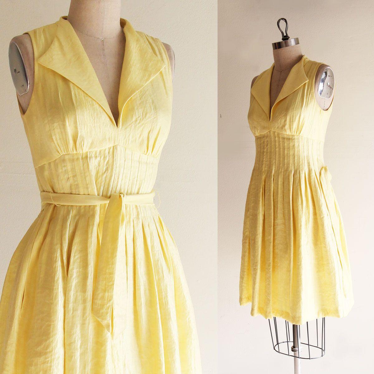 Vintage Maggy London Sunshine Yellow Sleeveless Dress Size 8 Etsy Maggy London Sleeveless Dress 60s Dress
