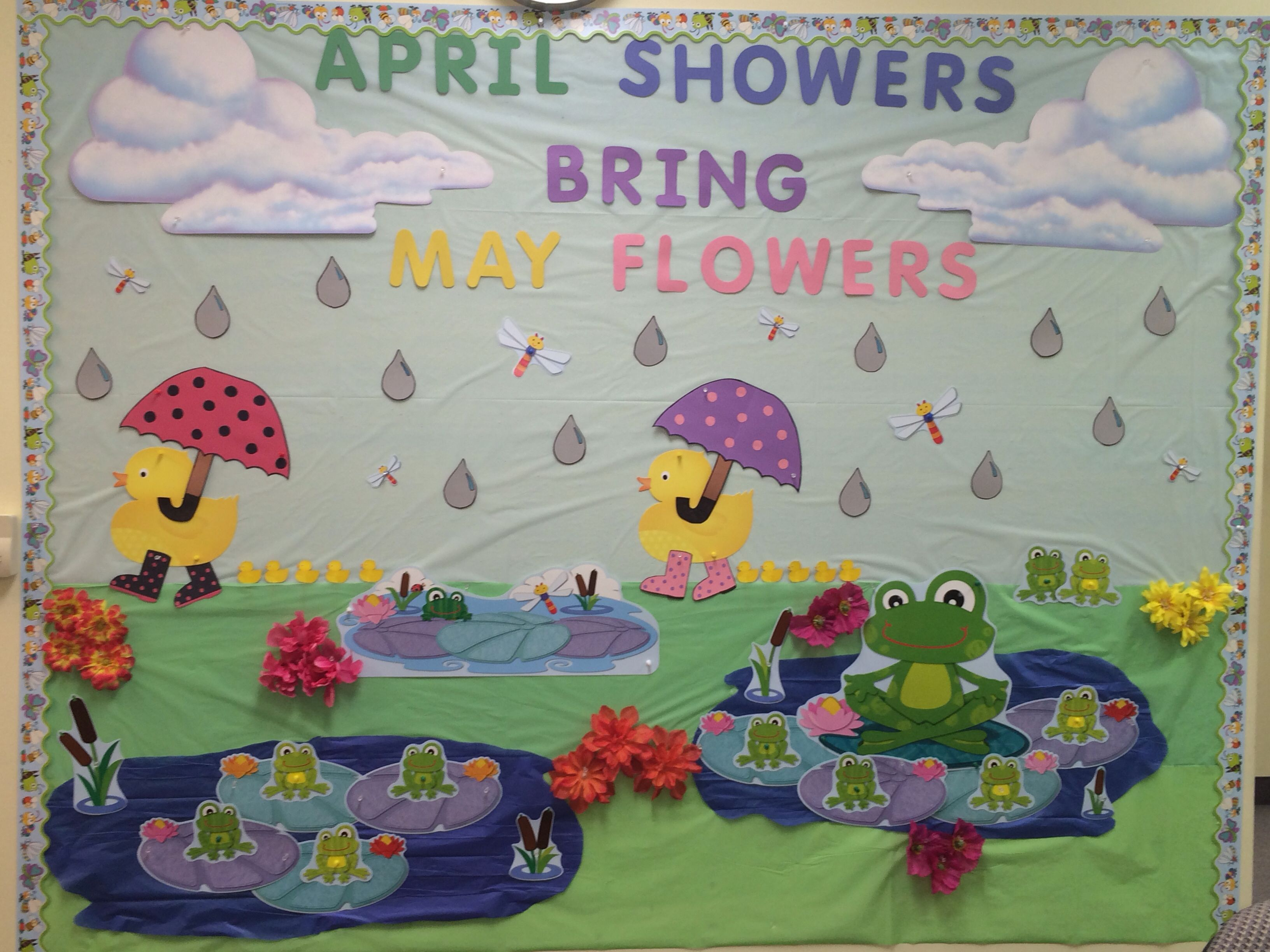 Classroom Decorations For April ~ April showers brings may flowers decor classroom wall