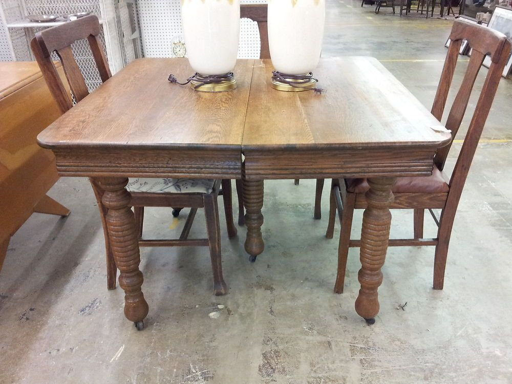 Antique Oak Square Five Leg Dining Table Extends Turned Legs