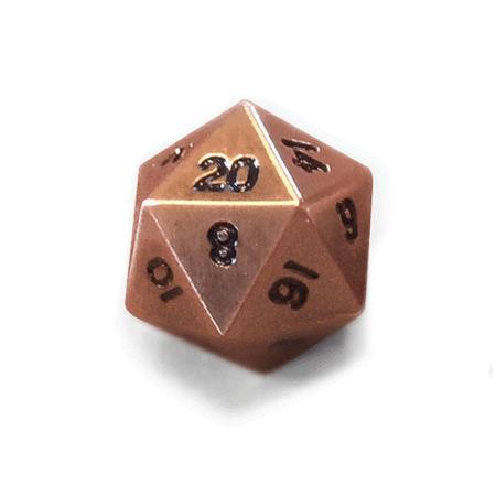 Legendary Copper D20 Dice Metal Single 20 Sided Dice 20 Sided Dice Metal Copper
