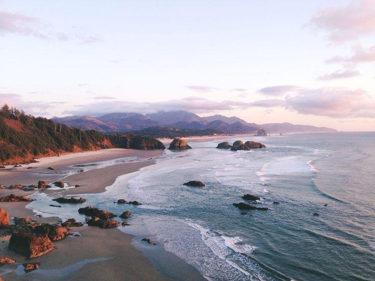 Cannon Beach Oregon, Water, Ocean, Navy, Blue, Sunlight, Sea, Swimming, Sunset, Clouds, #hooper