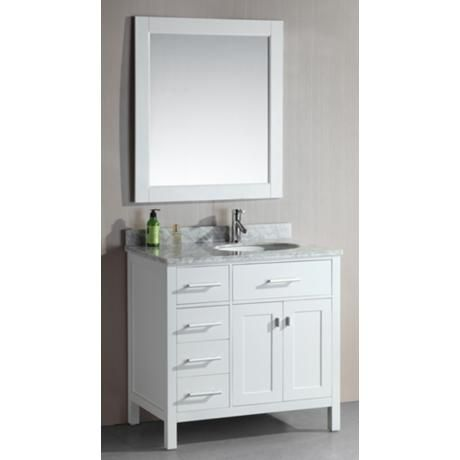 London 36 Wide White Sink Vanity With Drawers On Left White Sink Vanity Sink Vanity