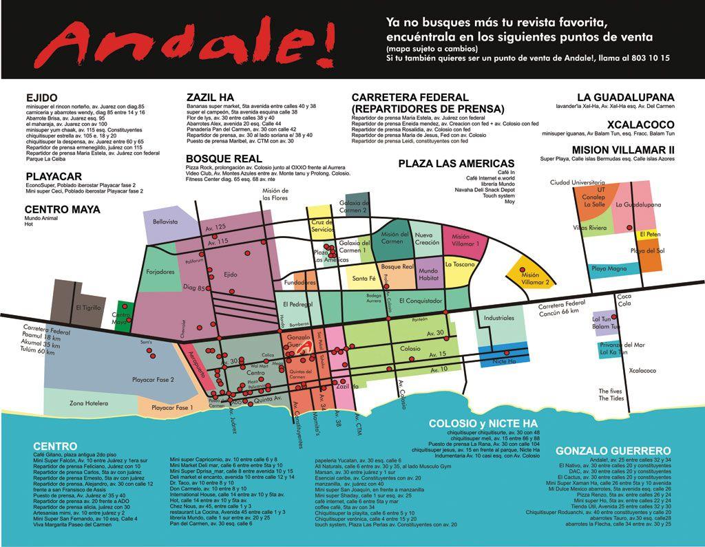 Playa Del Carmen Neighborhood Map Playa Del Carmen Del Carmen Playa
