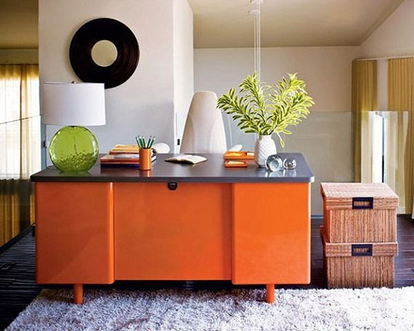 Whether Writing Screenplays Or Paying Bills, The Homeowner Works At A  Vintage Metal Desk, Refinished In Orange At An Auto Body Shop.