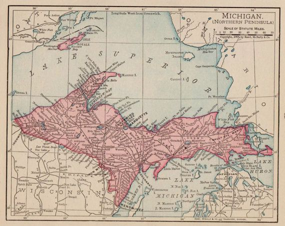 Antique Northern Peninsula Map Of Michigan Pretty Michigan State - Us map 1908