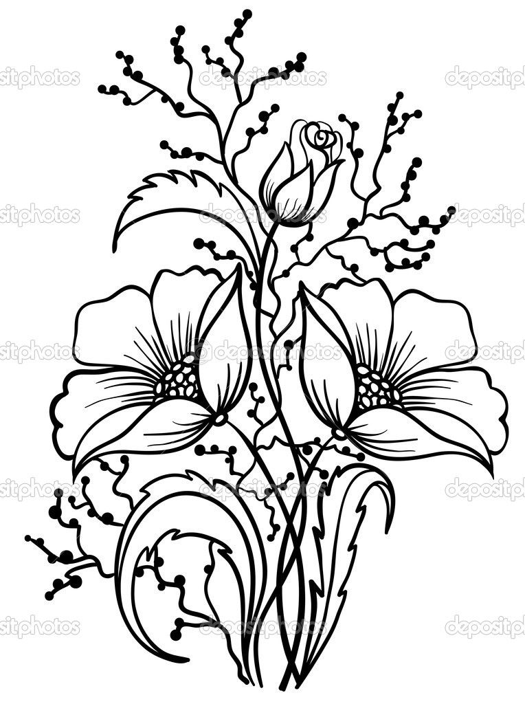 Download Arrangement Of Flowers Black And White Outline Drawing