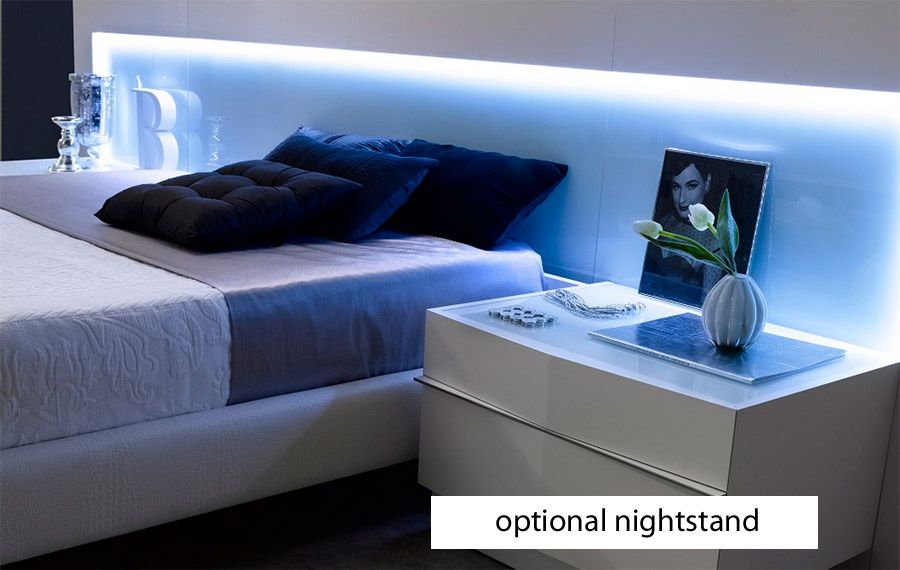 j m valencia platform bed led lights white glass headboard