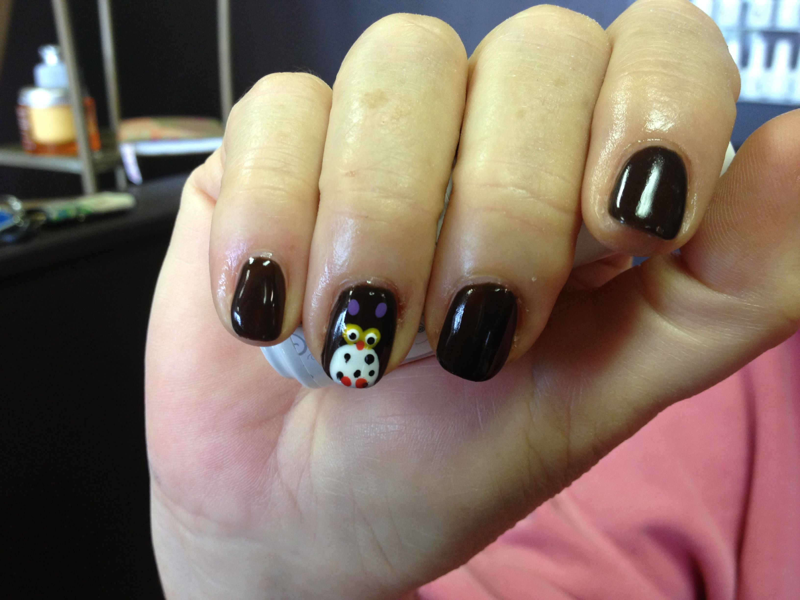 Cute little brown owl nail art for fall. Gelish, Strut Your Stuff ...