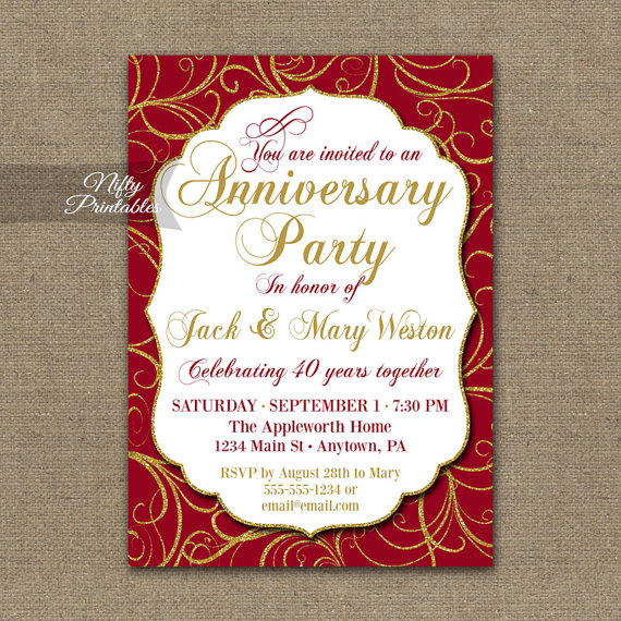 40th Anniversary Invitations - Printable 40th Wedding Anniversary - email invitations