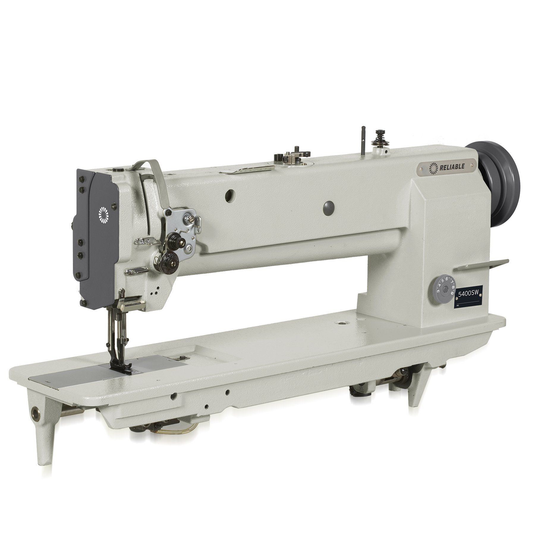 Reliable MSK-8400BL-18 18-Inch Long Arm, Single Needle Walking Foot Sewing Machine with Sewquiet Servomotor. Stitch dial and reverse lever. Built-in bobbin winder. Sewquiet 5000 DC servomotor. Superior stand with K-Legs and Bonus UberLight Task Light.