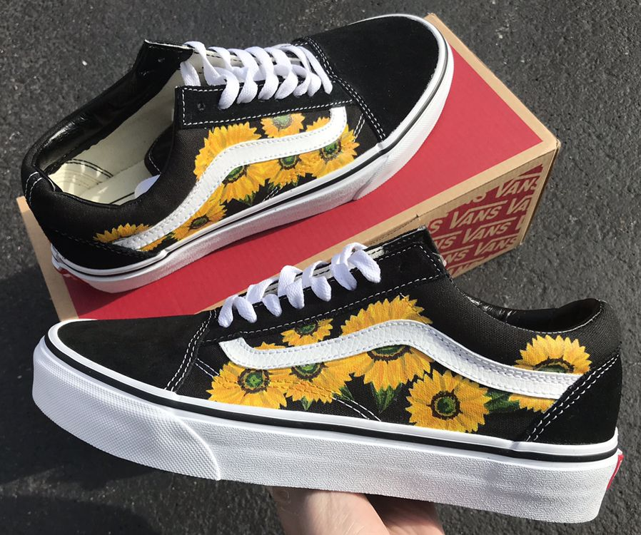 Painted by me :) | Painted shoes, Sunflower vans, Painted vans