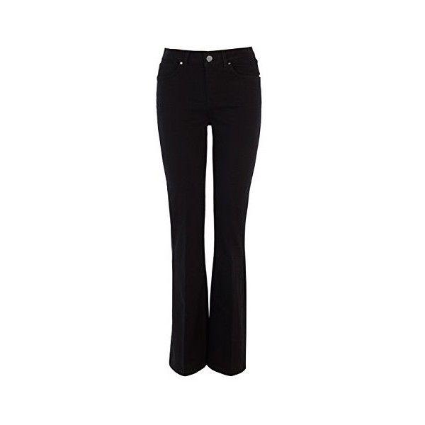 Karen Millen BLACK DENIM KICK FLARE JEAN ($130) ❤ liked on Polyvore featuring jeans, black flare jeans, flare jeans, denim jeans, black denim jeans et flare denim jeans