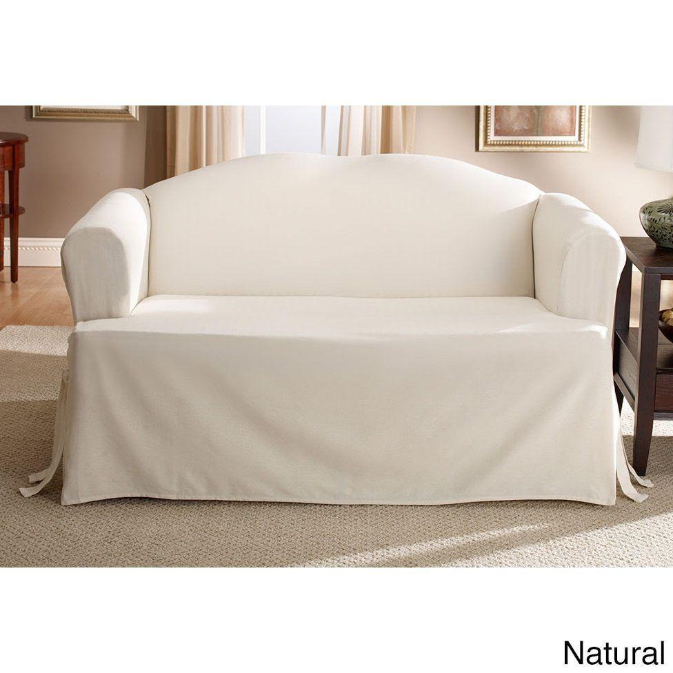 Sure Fit Cotton Classic T Cushion Sofa Slipcover Blue Stone T