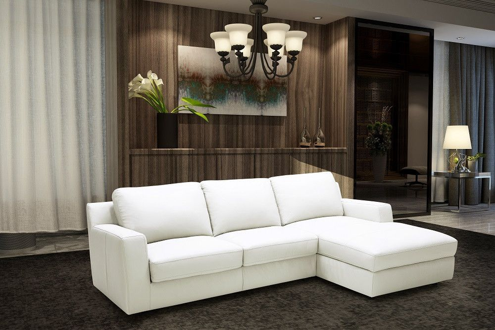 BILLY J PREMIUM LEATHER SECTIONAL SLEEPER SOFA BED - RIGHT SIDED, WHITE