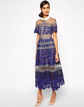 S,M L New Self Portrait Style Blue Lace Runway Dress