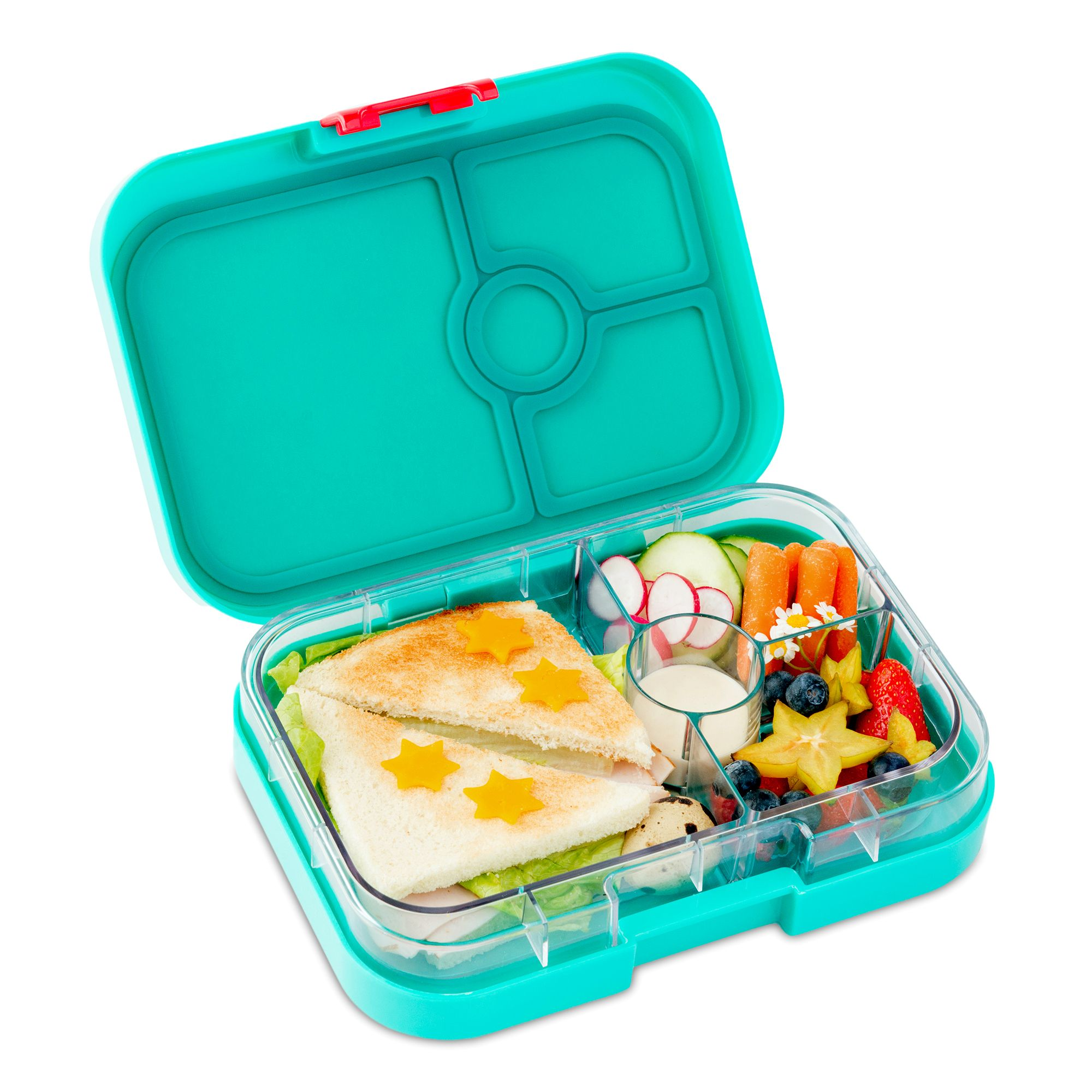 4-compartment food tray (illustrated) Includes exterior box and tray insert with Tropical food themed illustrations. 3 Cup volume: One 2 cup sandwich/salad-