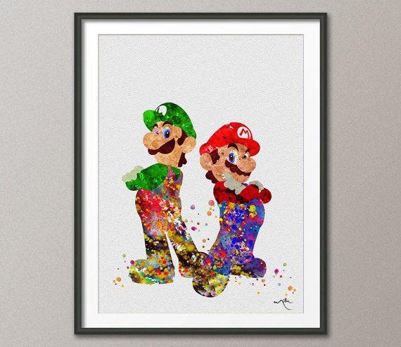 Mario and Luigi Super Mario Brothers Watercolor by ...