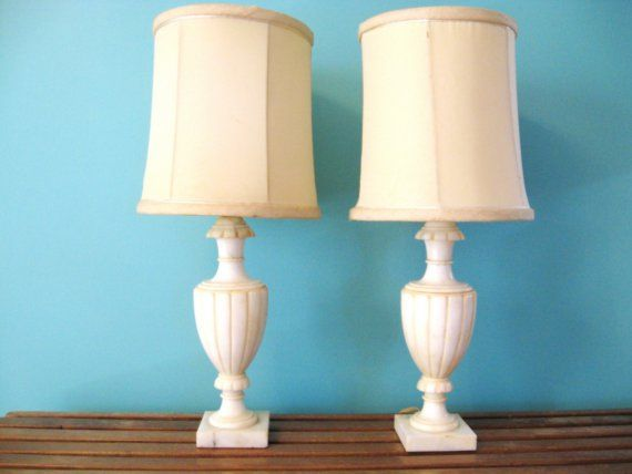 40s Pair White Alabaster Marble Vintage Table By Fabulousmess Lamp Alabaster Lamp White Alabaster