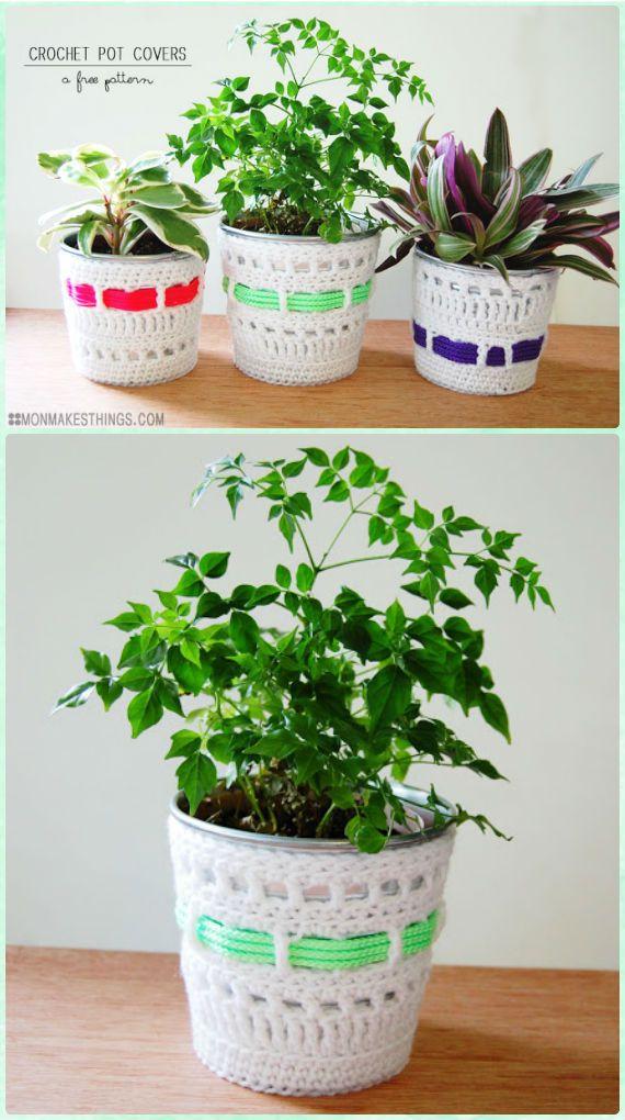 Crochet plant pot cozy cover free patterns instructions tejidos croch tejidos y macetas - Colgadores de macetas ...