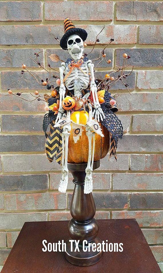 SALE Mr Bones Centerpiece Halloween Pumpkin by SouthTXCreations
