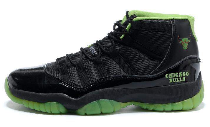 55d175b882 Nike Air Jordan 11 XI Chicago Bulls Logo Shoes Black - Green Shoes ...