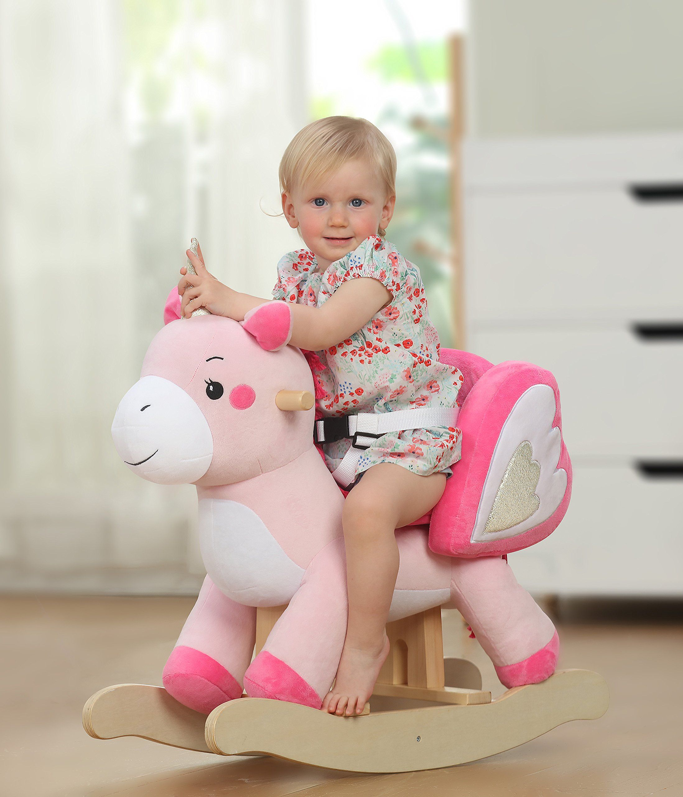 Labebe Child Rocking Horse Toy Pink Rocking Horse Plush Unicorn Rocker Toy For Kid 13 Years Stuffed Anim Kids Ride On Toys Baby Rocking Horse Rocking Horse Toy