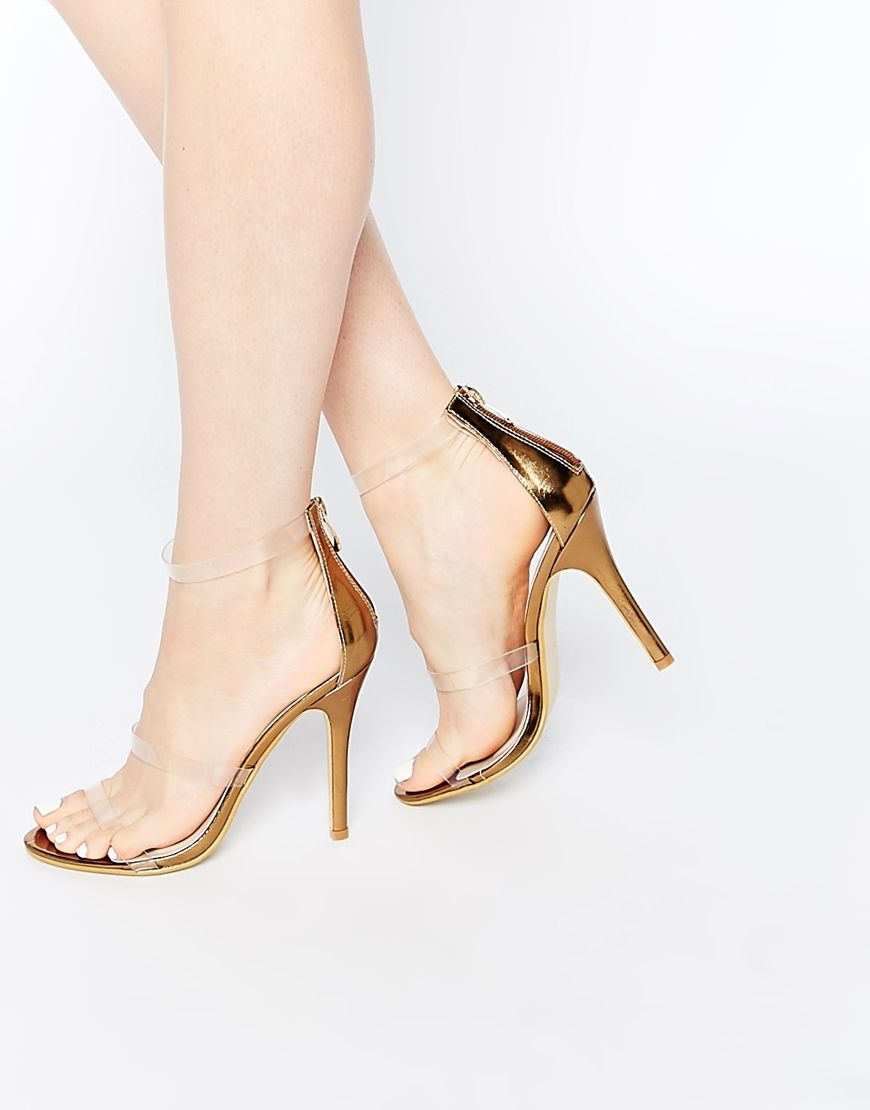 Image 1 of Daisy Street Gold with Clear Strap Barely There Heeled ...