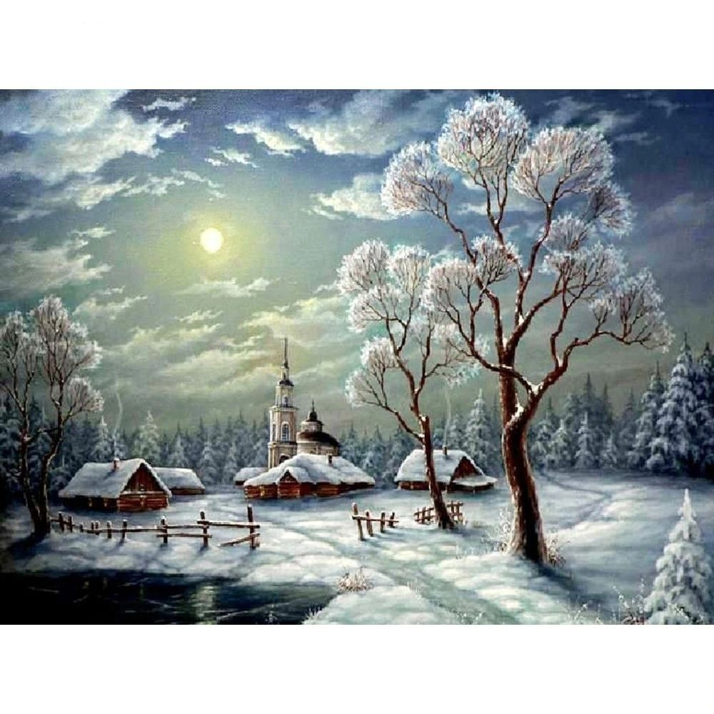 Winter Landscape Round Drill Diamond Painting
