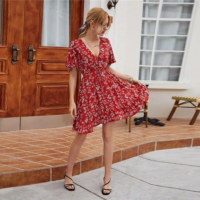 Rotes Boho Vintage Sommerkleid mit V-Ausschnitt & in A ...